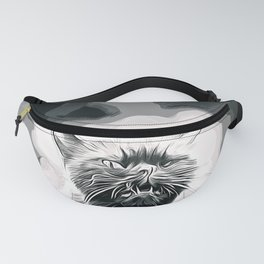 british shorthair cat ready to attack vector art black white Fanny Pack
