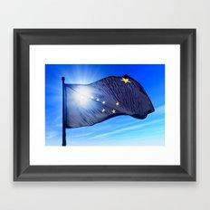 Alaska (USA) flag waving on the wind Framed Art Print