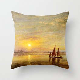 On the James River, Virginia by Edward Lamson Henry Throw Pillow