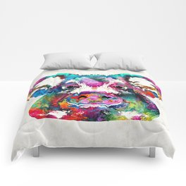 Colorful Pig Art - Squeal Appeal - By Sharon Cummings Comforters