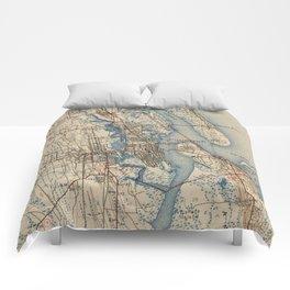 Vintage Map of St. Augustine Florida (1937) Comforters