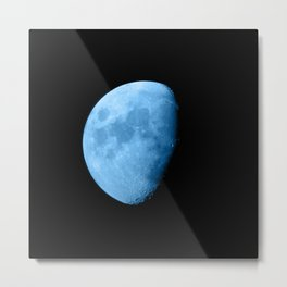 4K Dark Side of the Moon Ice Blue Metal Print