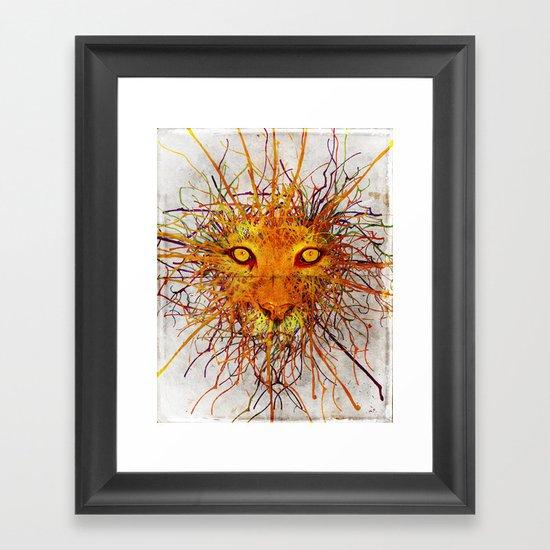 Lion Drip Framed Art Print