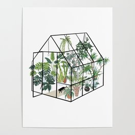 greenhouse with plants Poster