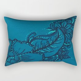 Blue on Blue Floral Design Rectangular Pillow