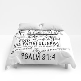 Psalm 91:4 Christian Bible Verse Typography Design Comforters