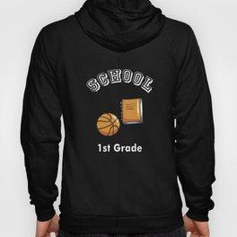 1st First Grade Basketball Player Back to School Art Design Hoody