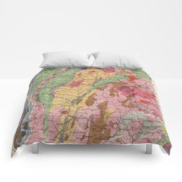 Vintage New Hampshire and Vermont Geology Map (1877) Comforters