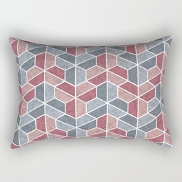 Pattern of three – blue and red Rectangular Pillow