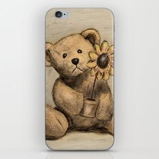 Teddybear with a sunflower iPhone & iPod Skin