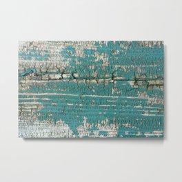 Rustic Wood Turquiose Paint Weathered Metal Print