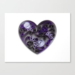 Purple Grey Love Heart Paper Quilled Colorful Heart Wedding Anniversary Gift Canvas Print