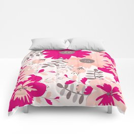 Big Flowers in Hot Pink and Accent Gray Comforters