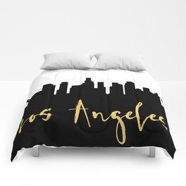 LOS ANGELES CALIFORNIA DESIGNER SILHOUETTE SKYLINE ART Comforters