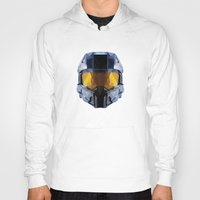 master chief Hoodies featuring Geometric Master Chief - Halo  by Something a Little Awesome