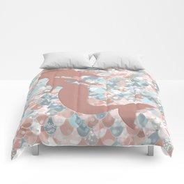 Elegant Mermaid Blush, Pink, Coral, Aqua, Teal Comforters