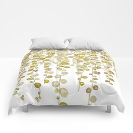 golden string of pearls watercolor 2 Comforters
