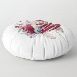 Rib cage with poppy Floor Pillow