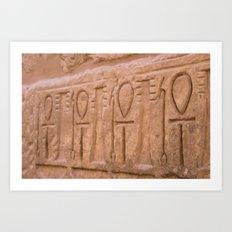 Karnak Temple Ankh carvings Art Print