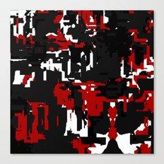Black Red and White Glitch Canvas Print