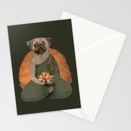 meditating pug - green Stationery Cards