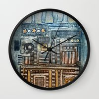 cityscape Wall Clocks featuring Cityscape by Maureen Mitchell