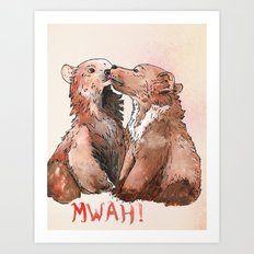 Bear cub kiss Art Print