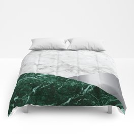 White Marble - Green Granite & Silver #999 Comforters