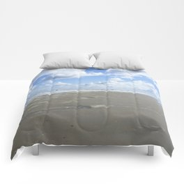 Cloudy seascape panorama Comforters