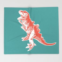 Dino Pop Art - T-Rex - Teal & Dark Orange Throw Blanket