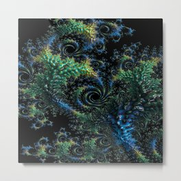 Blue and Turquoise Fractal Metal Print