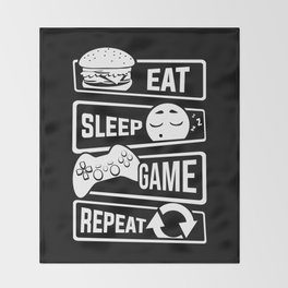 Eat Sleep Game Repeat | Video Game Console Gaming Throw Blanket