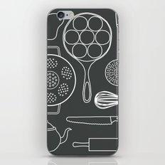 kitchen tools (white on black) iPhone & iPod Skin