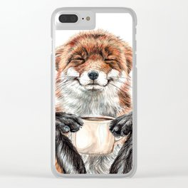 """ Morning fox "" Red fox with her morning coffee Clear iPhone Case"