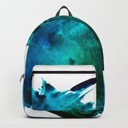 Crashing Waves: a vibrant minimal abstract design in blue, green, and white by Alyssa Hamilton Art  Backpack