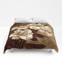 White Lilies and Palm Leaf in brownscale Comforters