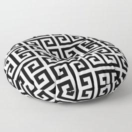 Large Black and White Greek Key Pattern Floor Pillow