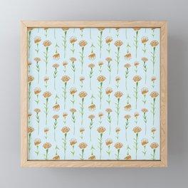 Watercolor Marigolds in Sky Blue Framed Mini Art Print