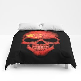 Dark Skull with Flag of China Comforters