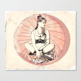 Pink Circle Girl Canvas Print