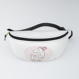 Cute white llama with a flower on its head Fanny Pack