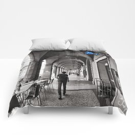 Black and white Bologna Street Photography Comforters