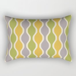 Classic Retro Ogee Pattern 847 Yellow Gray and Green Rectangular Pillow