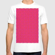 PINK DOT & STAR  MEDIUM Mens Fitted Tee White