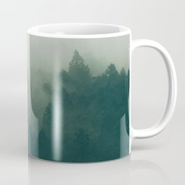 Green Pine Trees Misty Foggy Forest Green Ombre Gradient Minimalist Landscape Coffee Mug