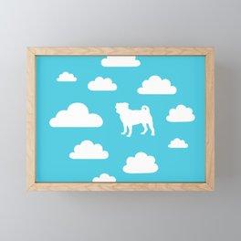 Pug Clouds (white and blue) Framed Mini Art Print