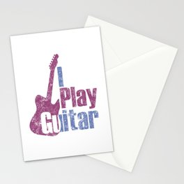 I Play Guitar Distressed Stationery Cards