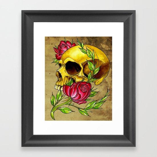trad skull w rose Framed Art Print