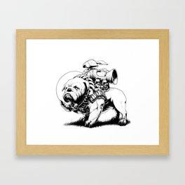 Jetpack Dog | Bulldog Framed Art Print