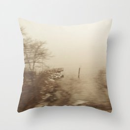 Dock in the Winter Storm Throw Pillow